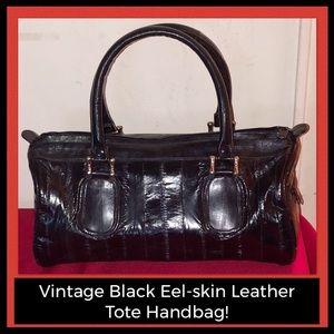 VTG Black Eel-skin Leather Speedy Satchel Tote Bag